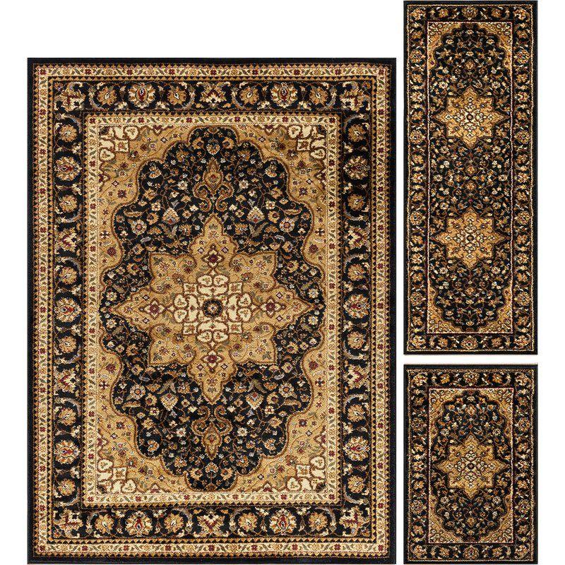 Sacha Traditional 3 Piece Black Brown Area Rug Set Area Rug Sets Area Rugs Rug Sets 3 piece area rug sets