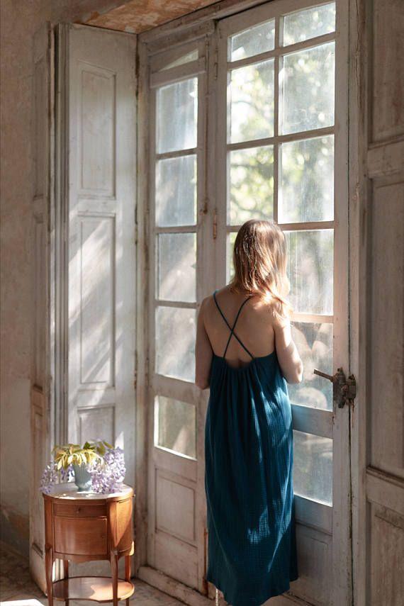 maxi SLIP DRESS. Romantic cotton gauze slip dress with crossed