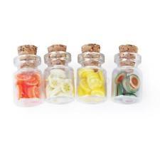 4 set 1/12 Puppenhaus Modell Speicher Glas Flasche mit Holz Deckel