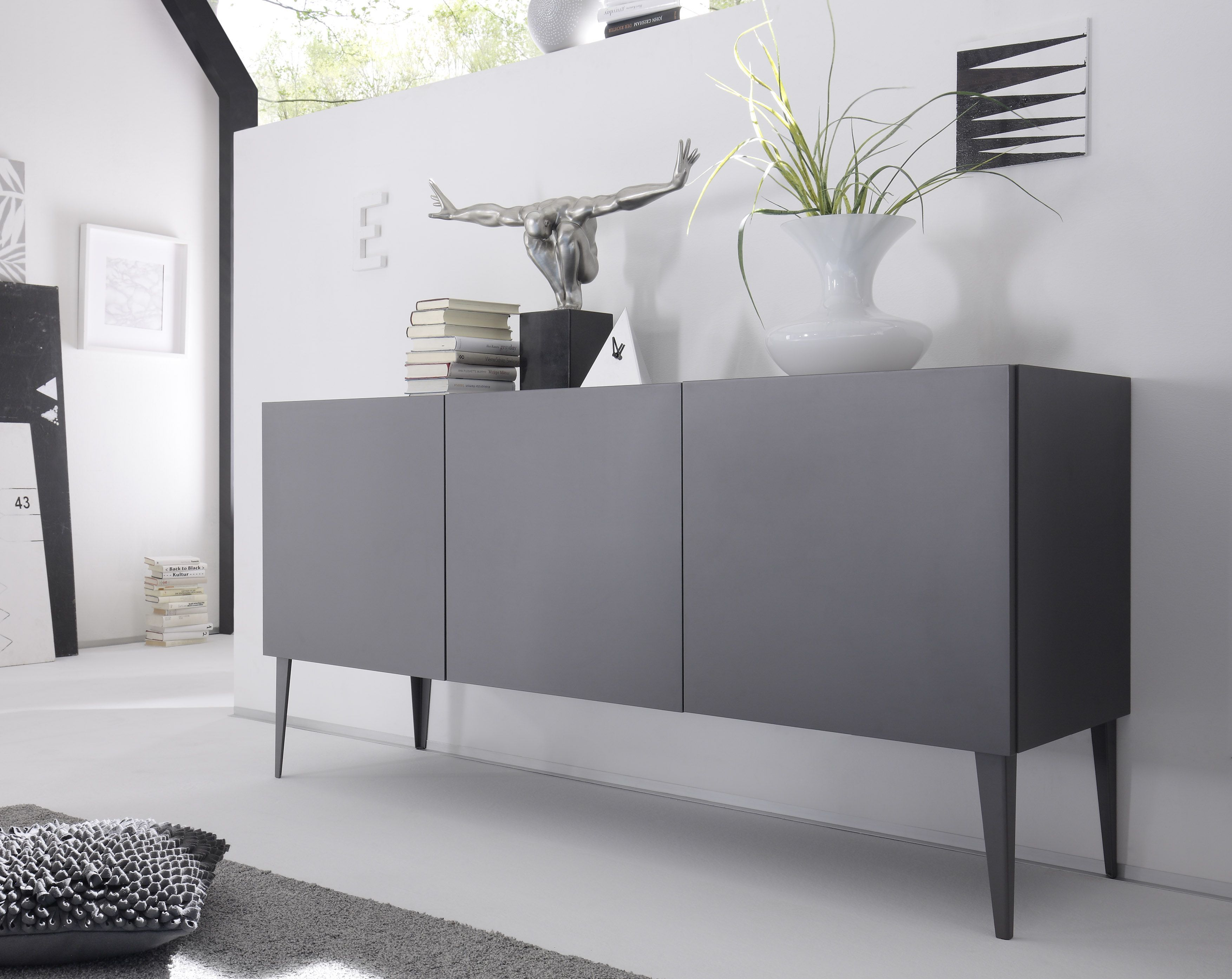 Sideboard anthrazit woody 12 01058 holz modern for Wohnzimmer sideboard modern