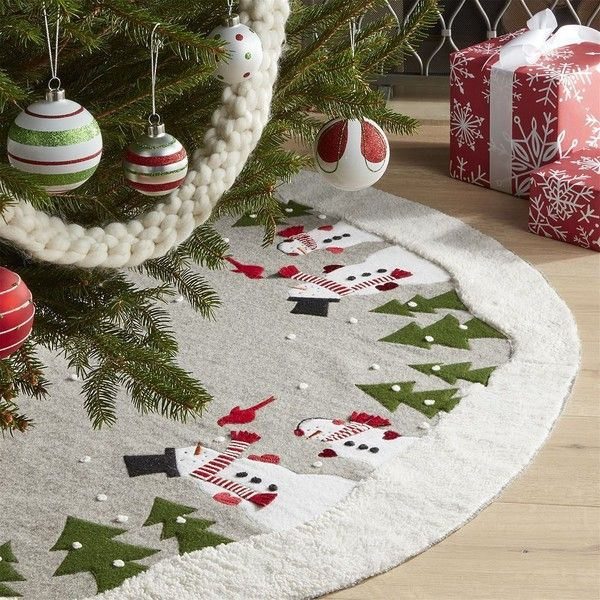 Crate Barrel Snowman Tree Skirt 1 945 Czk Liked On Polyvore Featuring Home Home Decor Holi In 2020 Diy Christmas Tree Skirt Xmas Tree Skirts Diy Christmas Tree