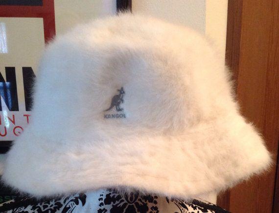 a2d13e2b87a53 Vintage Unisex Kangol White Fur Bucket Hat on Etsy