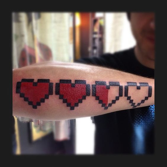 Bit Heart Matching Tattoo The legend of zelda 8 bit heart tattoo .