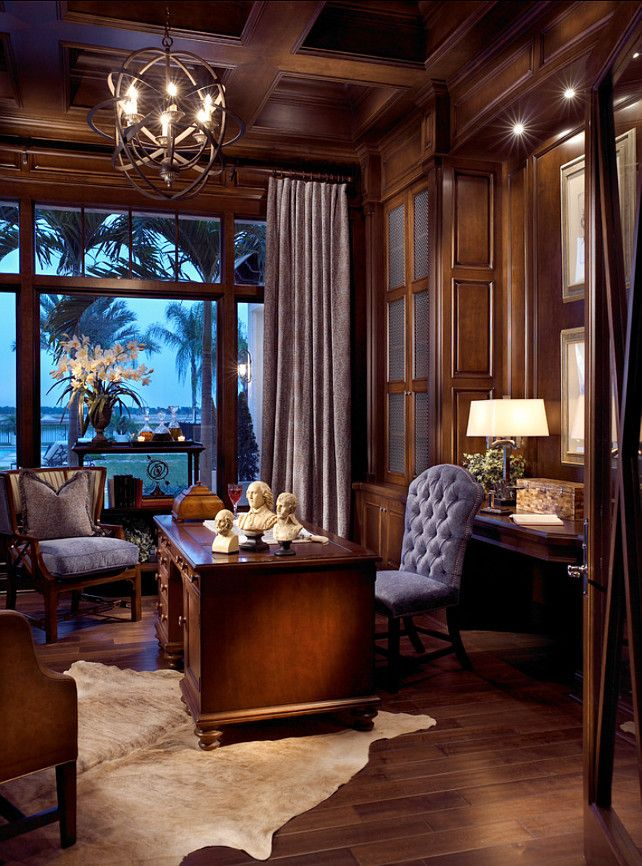 Home Office. Elegant, Traditional Home Office With Panelled Walls. This  Chandelier Was Custom