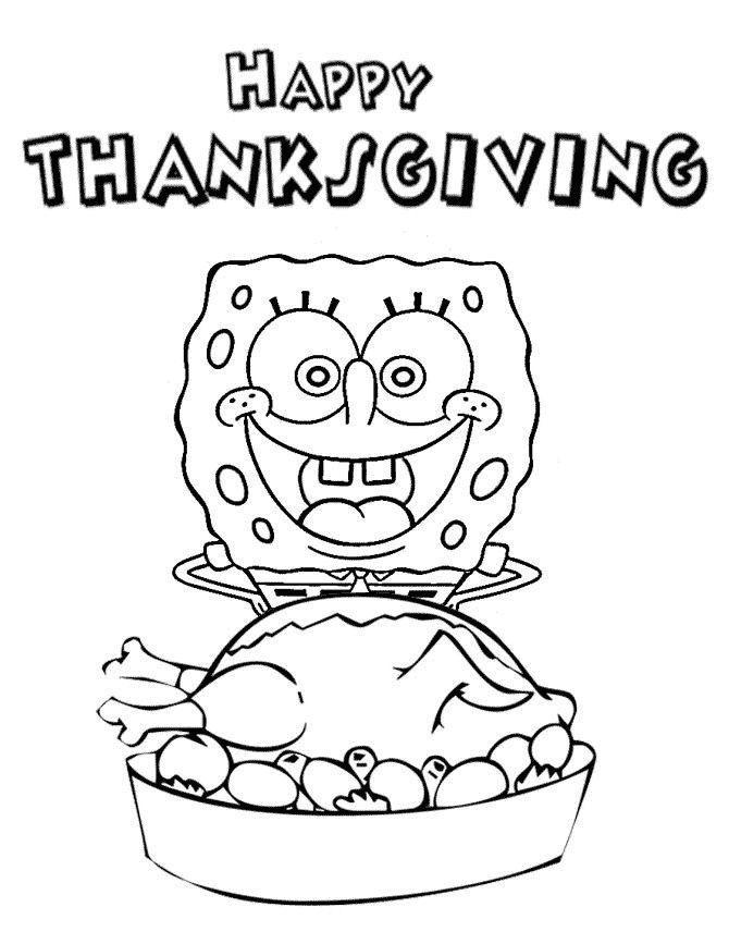 spongebob coloring pages thanksgiving in minecraft | SpongeBob Happy Thanksgiving Coloring Page | Thanksgiving ...