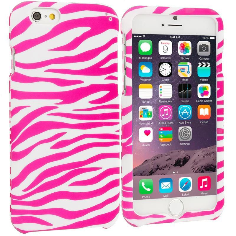 Pink / White Zebra Hard Rubberized Design Case Cover for Apple iPhone 6 6S Plus