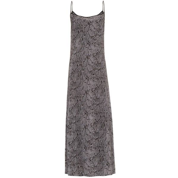 Equipment X Kate Moss Jessa maxi slip dress (2 650 SEK) ❤ liked on Polyvore featuring dresses, dark grey, snakeskin print dress, dark grey maxi dress, maxi dresses, slip dress and python dress