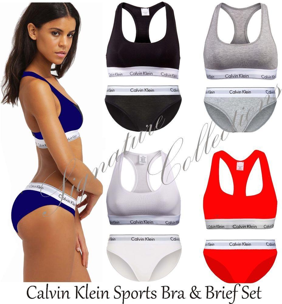 367c47f89fb50 Calvin Klein Sports Bra thong Ck women Underwear Ck Bralette Brief Set with  BOX