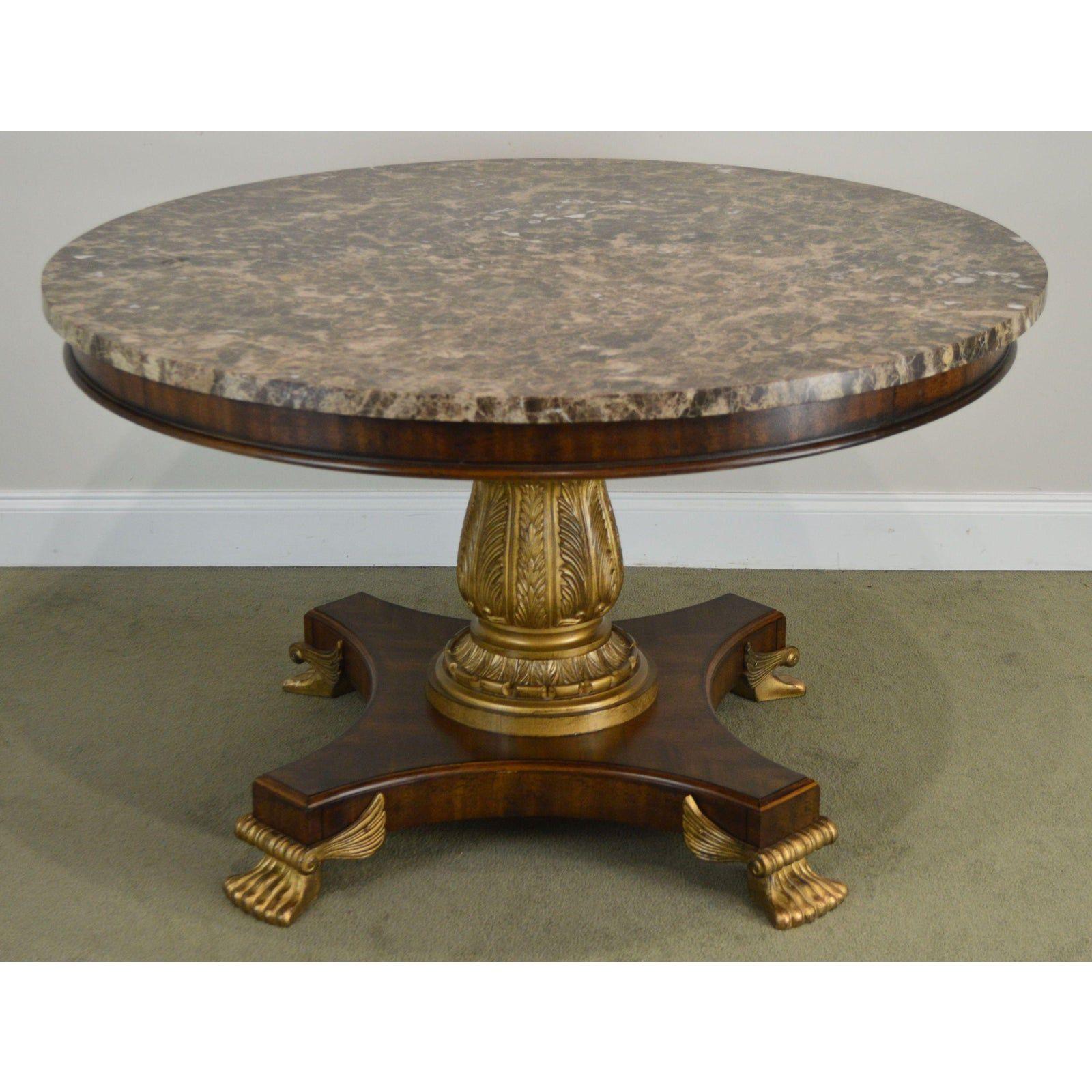 Drexel Heritage Regency Style Large 50 Round Marble Top Center Table Center Table Marble Top Marble Accessories [ 1600 x 1600 Pixel ]