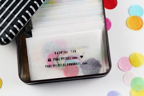 cartes de visite dans pochette de confettis