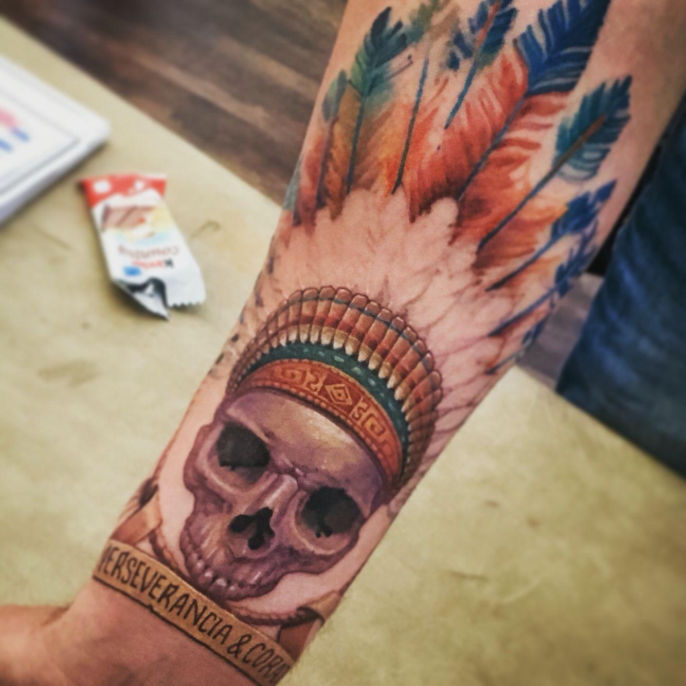 indian skull tattoo maya aztec inka inprogress tattoos