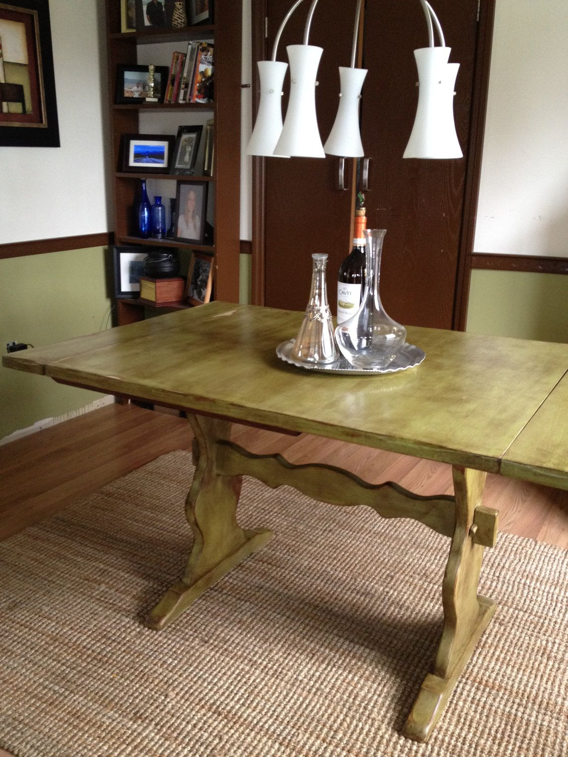 distressed country solid wood kitchen table vintage look