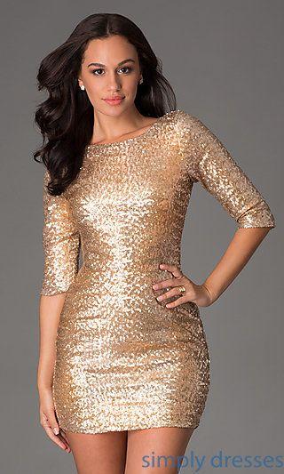Short Gold Sequin Long Sleeve Dress Long Sleeve Sequin Dress Gold Sequin Dress Short Cocktail Dress Party
