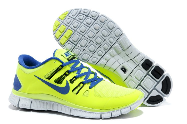 Nike Free 5.0 Green Yellow Blue Mens Running Shoes