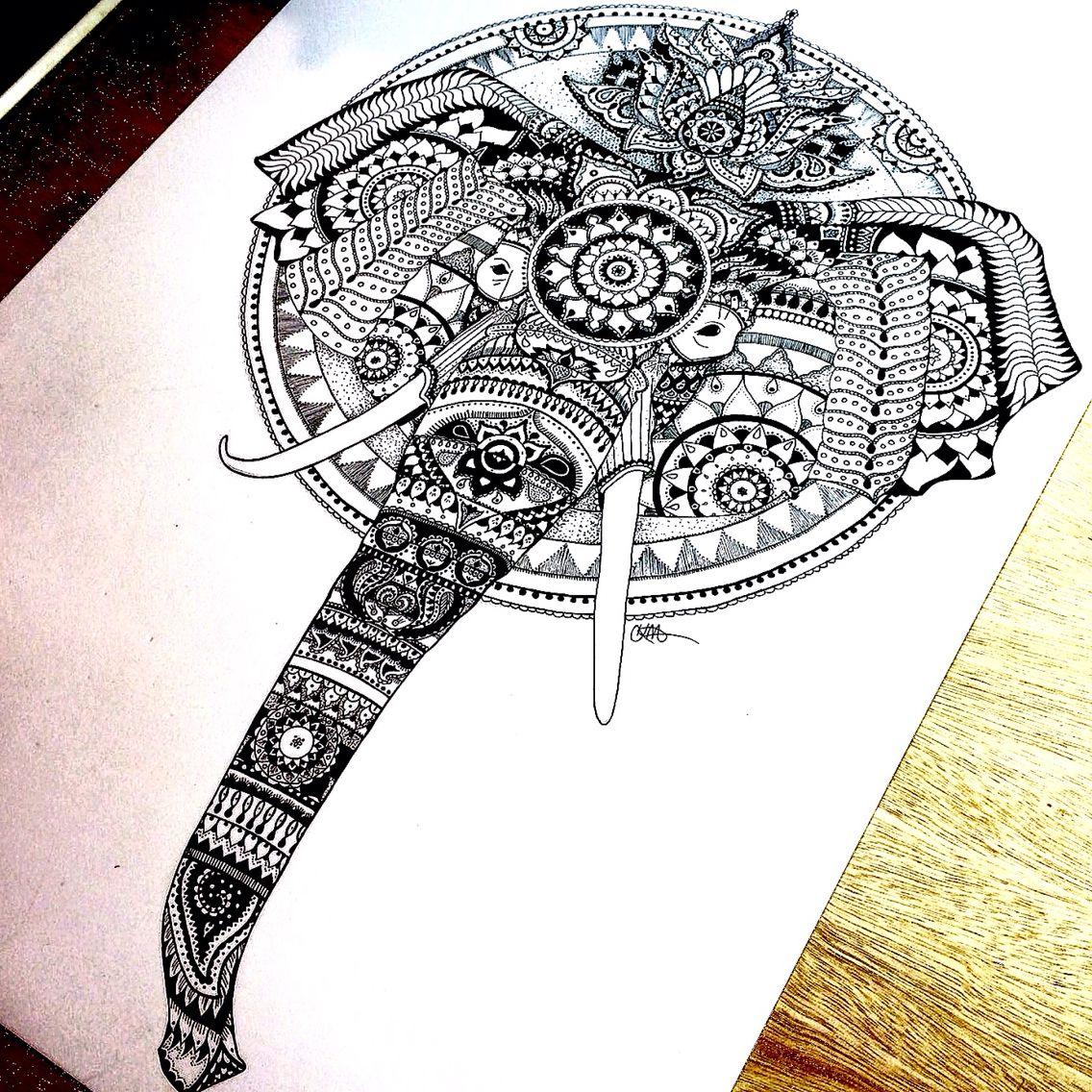 Elephant Mandala Fineliner drawing