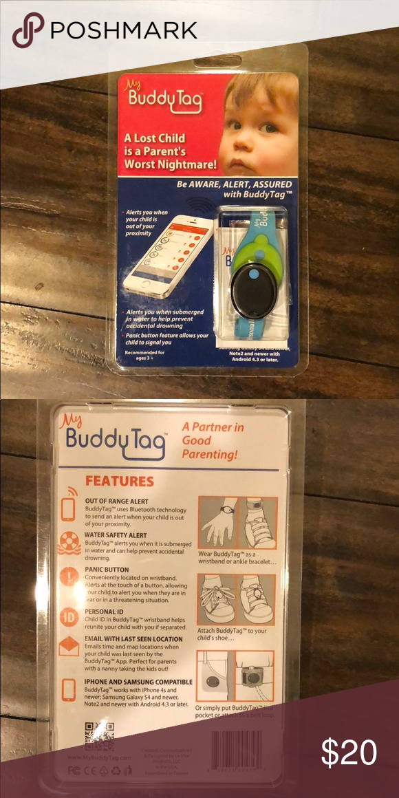 My Buddy Tag Wearable Bracelet That Uses Bluetooth To Let You Know When Your Child Is Out Of Proximity Through An Never Used The Way