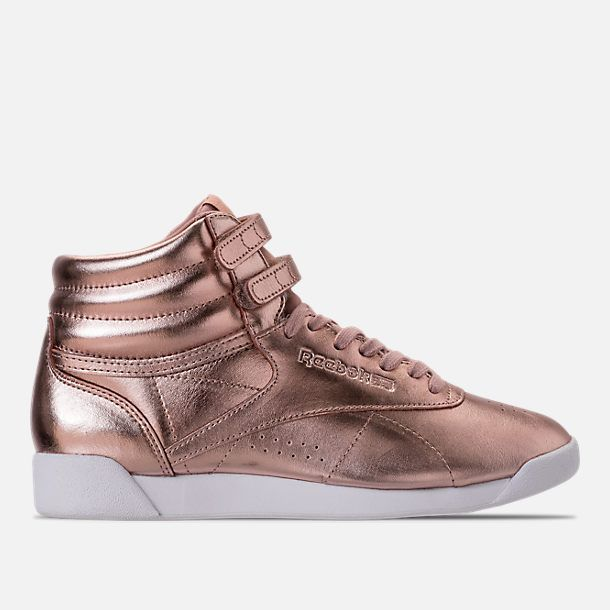 Right view of Women s Reebok Freestyle Hi Metallic Casual Shoes in Rose Gold White Silver  Peony 9c7c342be