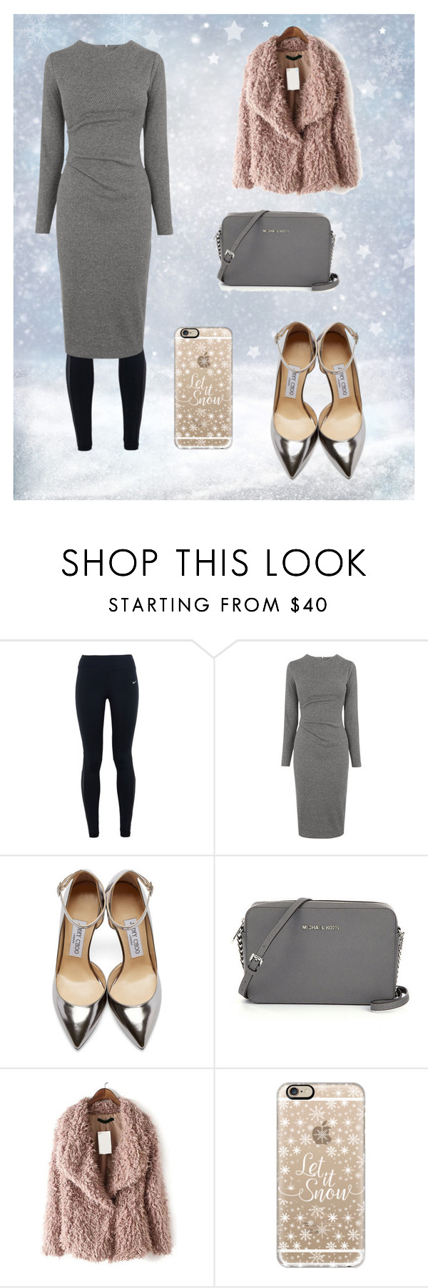 """""""Daily winter"""" by maemaed ❤ liked on Polyvore featuring beauty, NIKE, Whistles, Jimmy Choo and Casetify"""