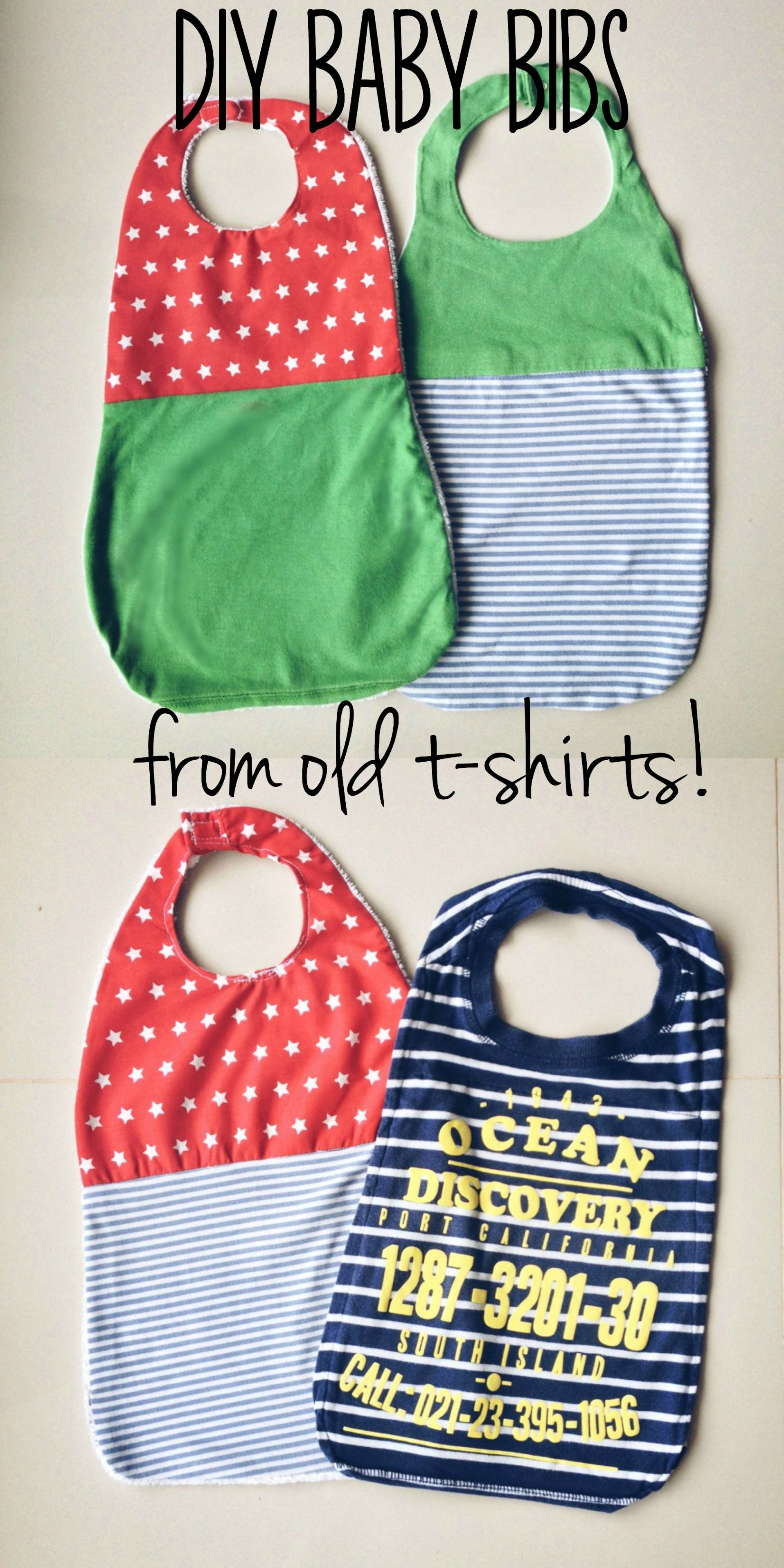DIY baby bibs tutorial. A quick and easy way to upcycle old t-shirts ...