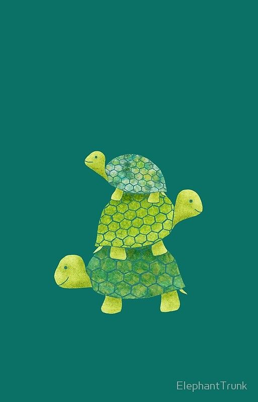 Cute Turtle Stack in Teal, Lime Green and Turquoise' iPhone