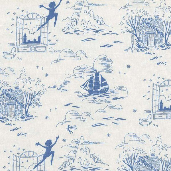 Neverland on blue     cotton  fitted crib//toddler sheet Peter Pan