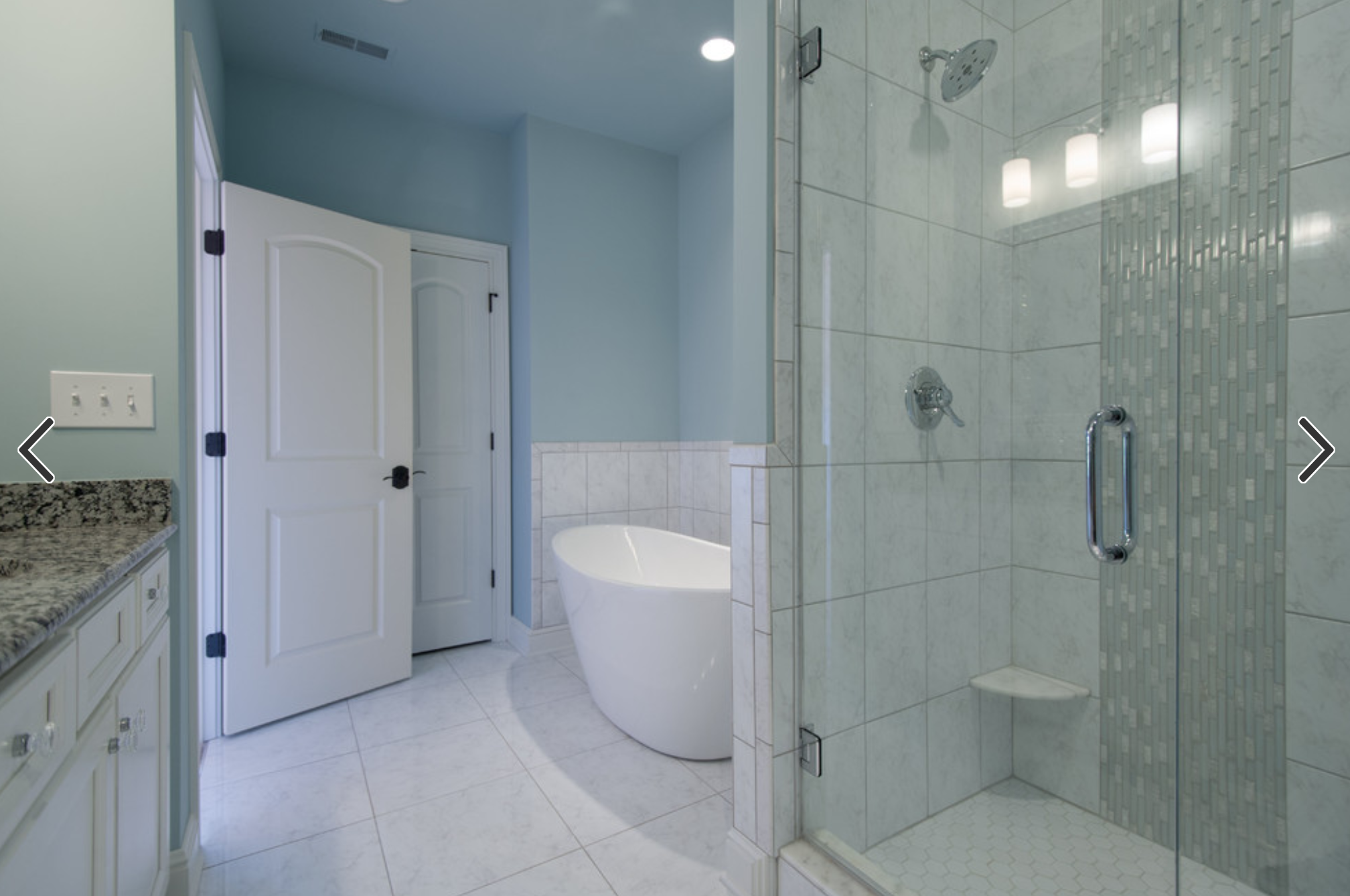 Houzz | Same large tile on shower wall and bathroom floor. Tile ...