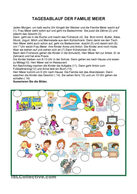 Tagesablauf der Familie Meier | DEUTSCH | Pinterest | German