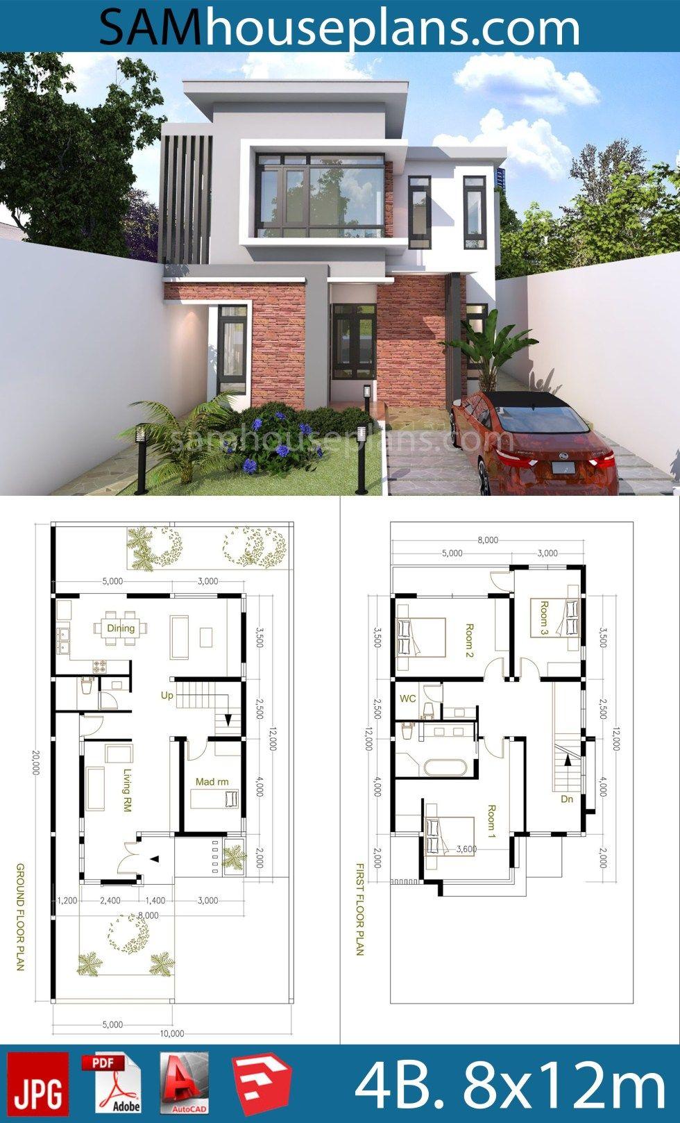 House Plans 8x12m With 4 Bedrooms Sam House Plans Sims House Plans Duplex House Design Model House Plan