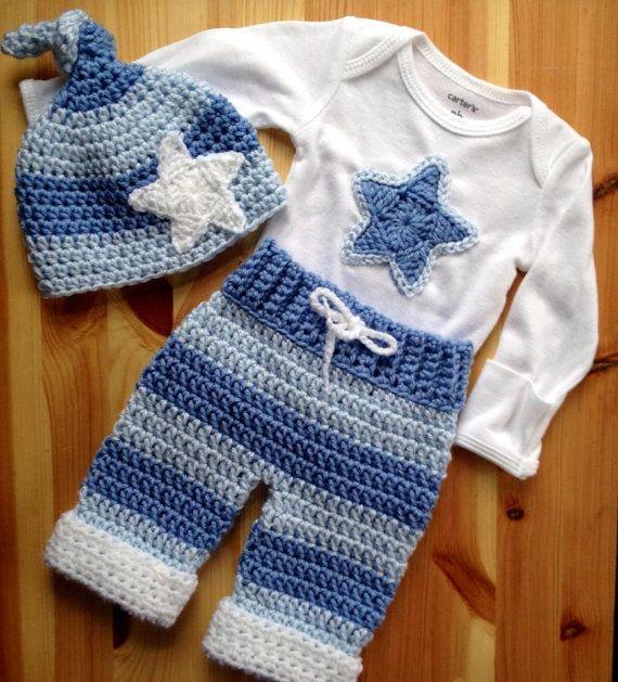 Crochet Newborn Little Star Layette 3 Piece set, Newborn Outfit ...