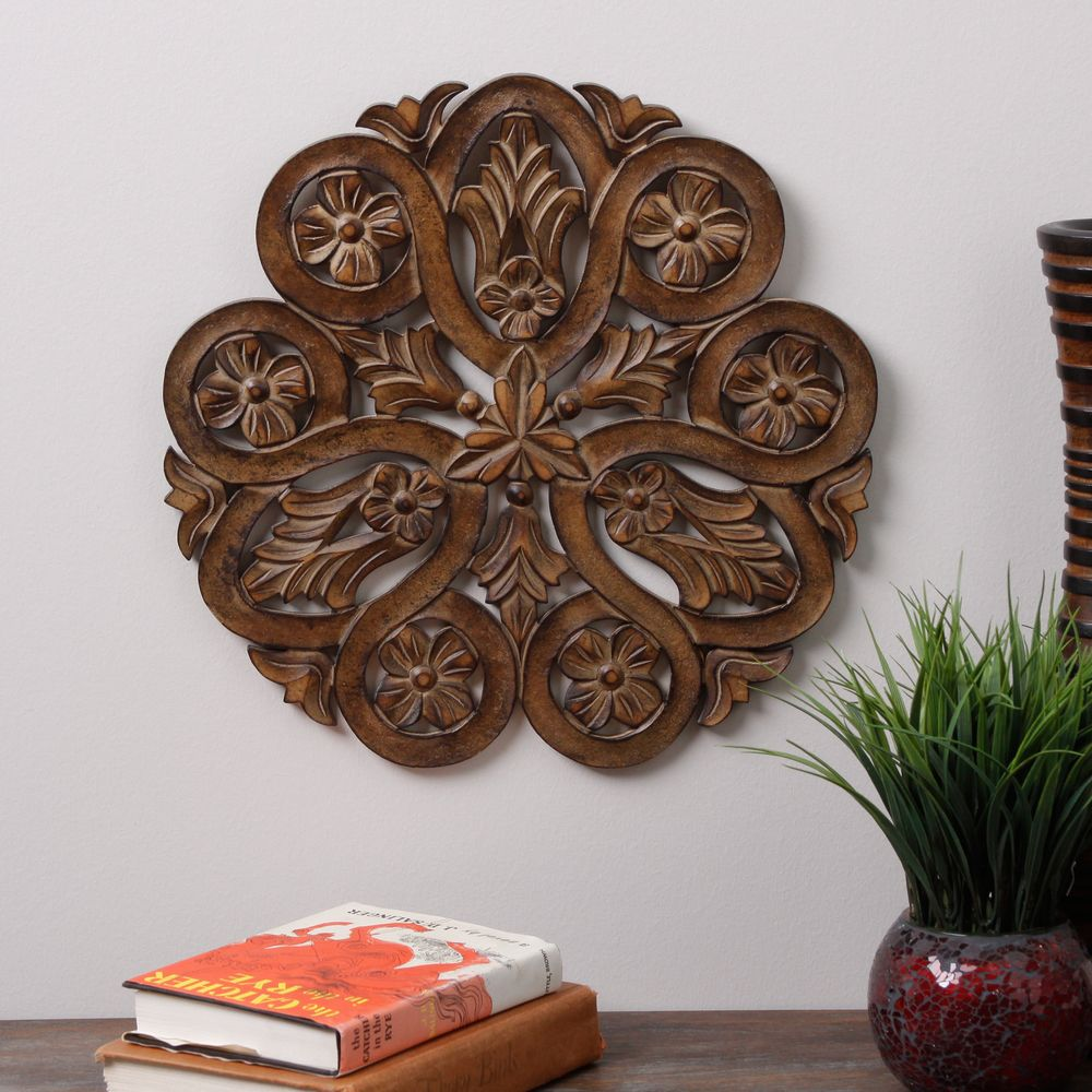 Wood carved poppy wall panel india overstock my home my