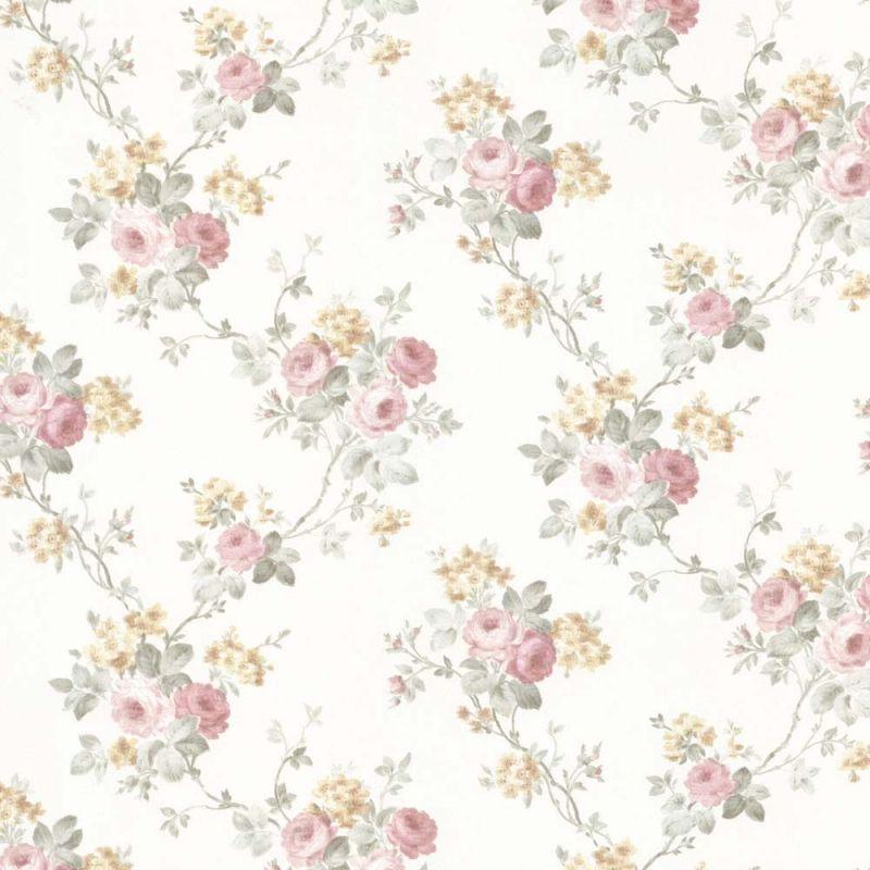 Vintage Rose englische Landhaus Satintapeten Rosen Ast Art.-Nr.: 68359