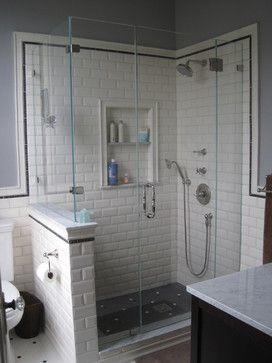 Victorian Shower Traditional Bathroom Black Floor Subway Tile