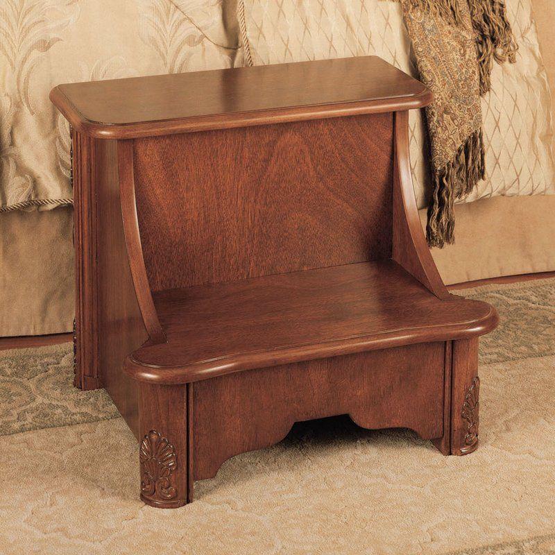 Woodbury Mahogany 2 Step Manufactured Wood Bed Stool With 200 Lb Load Capacity
