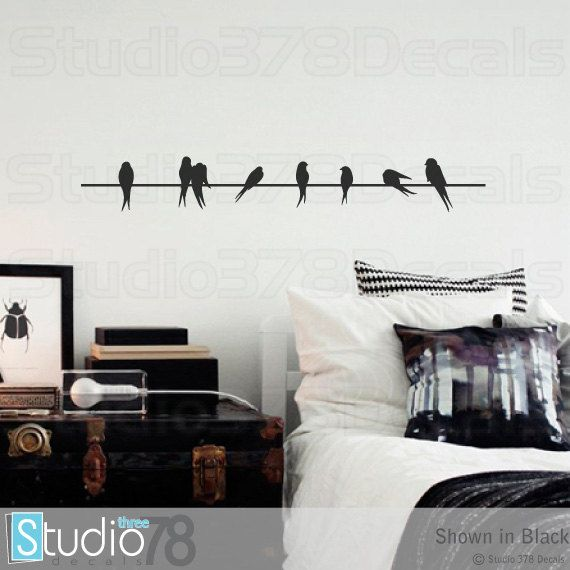 Wall decals birds on a wire vinyl decal home decor lovebirds wall decals birds on a wire vinyl decal home decor lovebirds sparrows thecheapjerseys Gallery