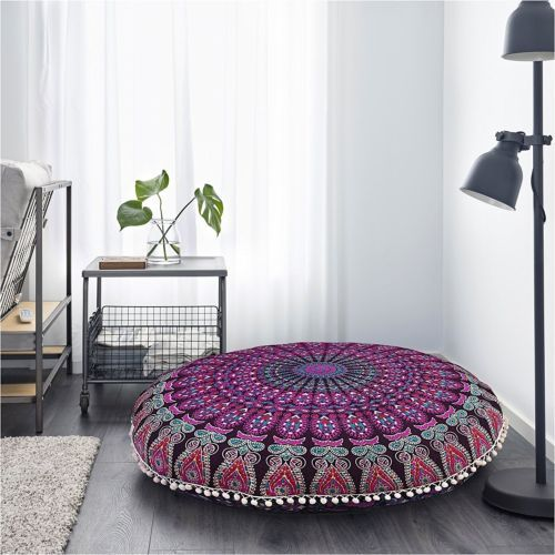 Floor Pillow Mandala Bohemian Indian Sitting Cushion Cover Roundthrow Pouf Cover Large Floor Cushions Floor Cushions Sitting Pillows