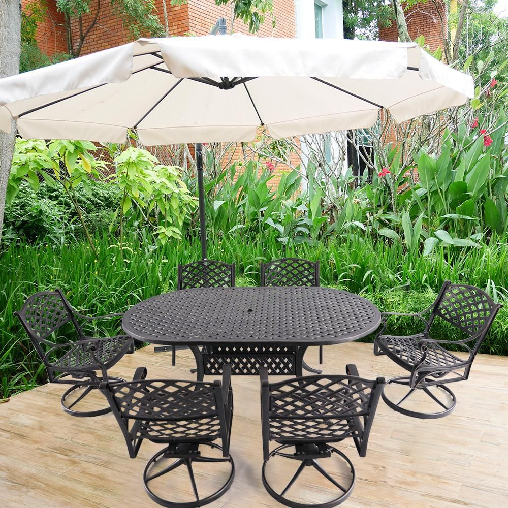 Nuu Garden Athena Black 7-Piece Cast Aluminum Outdoor Dining Set | Outdoor dining set, Patio ...