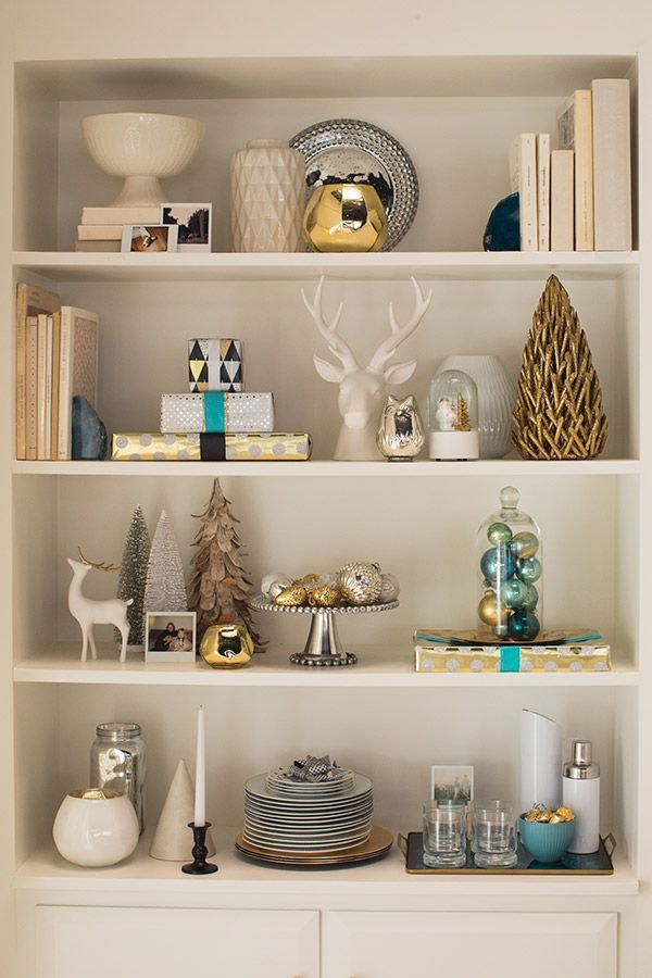 Use Any Extra Ornaments And Put Them In Something Fun Like This Glass Dome As A Simple And Festive Touch To Your Holiday Deco Bookshelf Decor Decor Home Decor