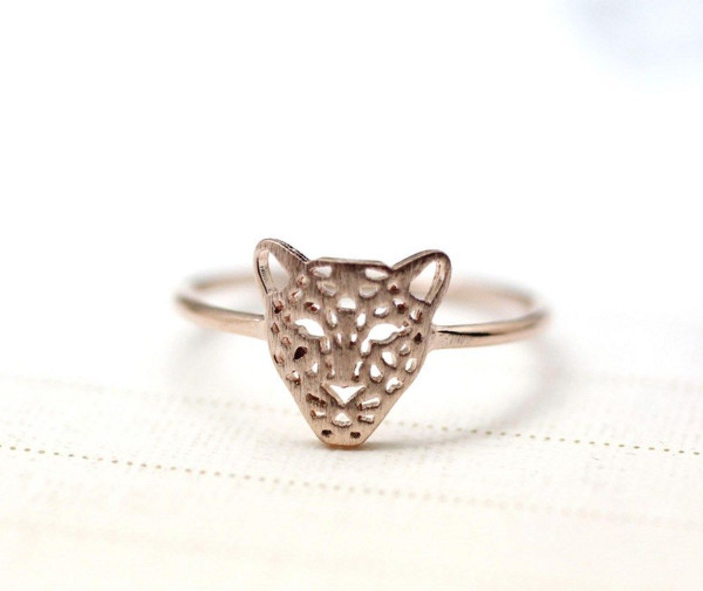 CutOut Animal Leopard Panther Cocktail Ring in rose gold