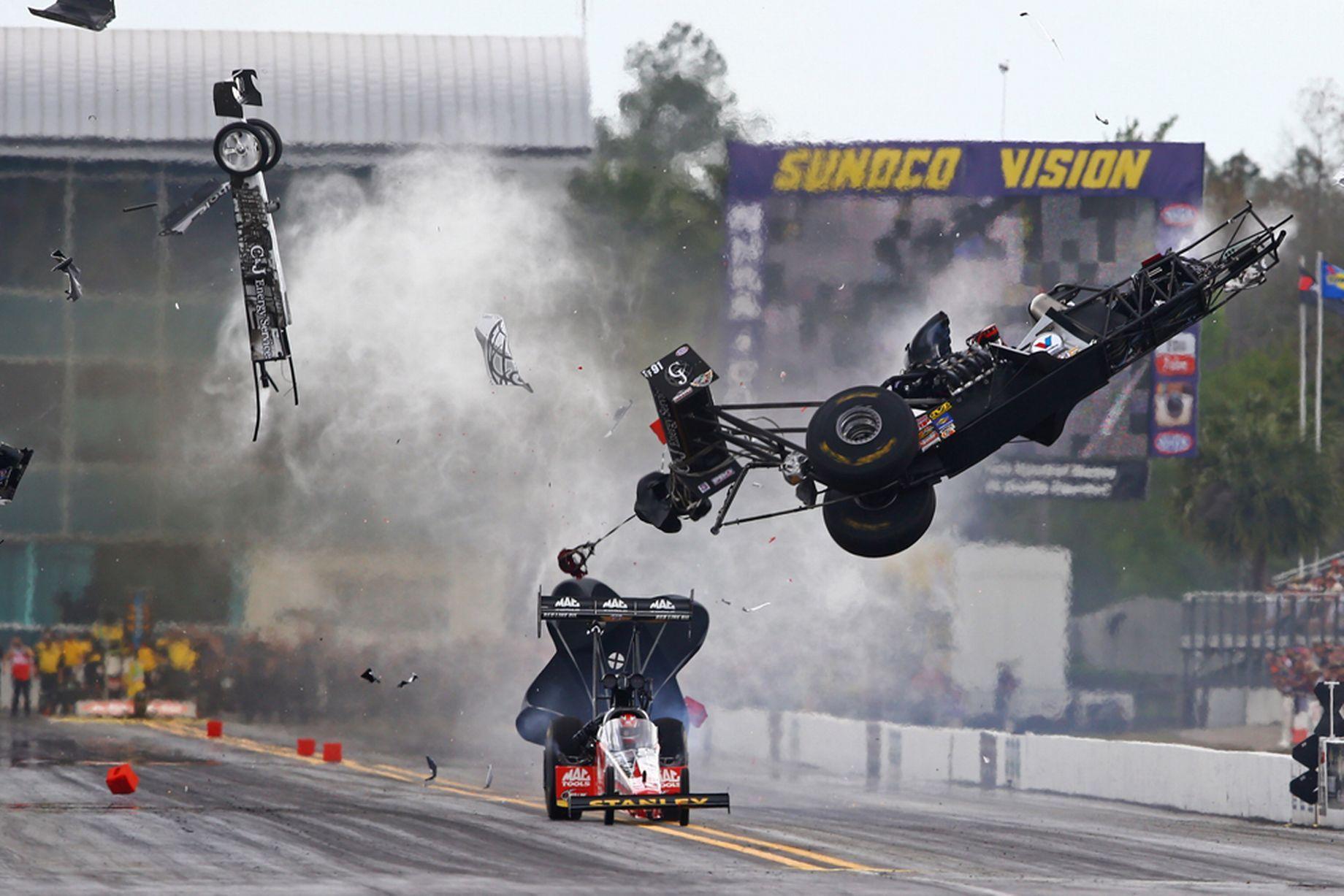 Drag racer hits wall at 280mph and walks away Drag