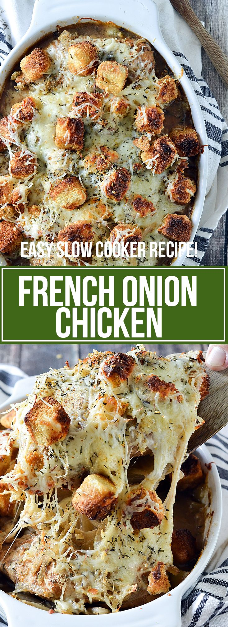 Slow Cooker French Onion Chicken #slowcookerrecipes