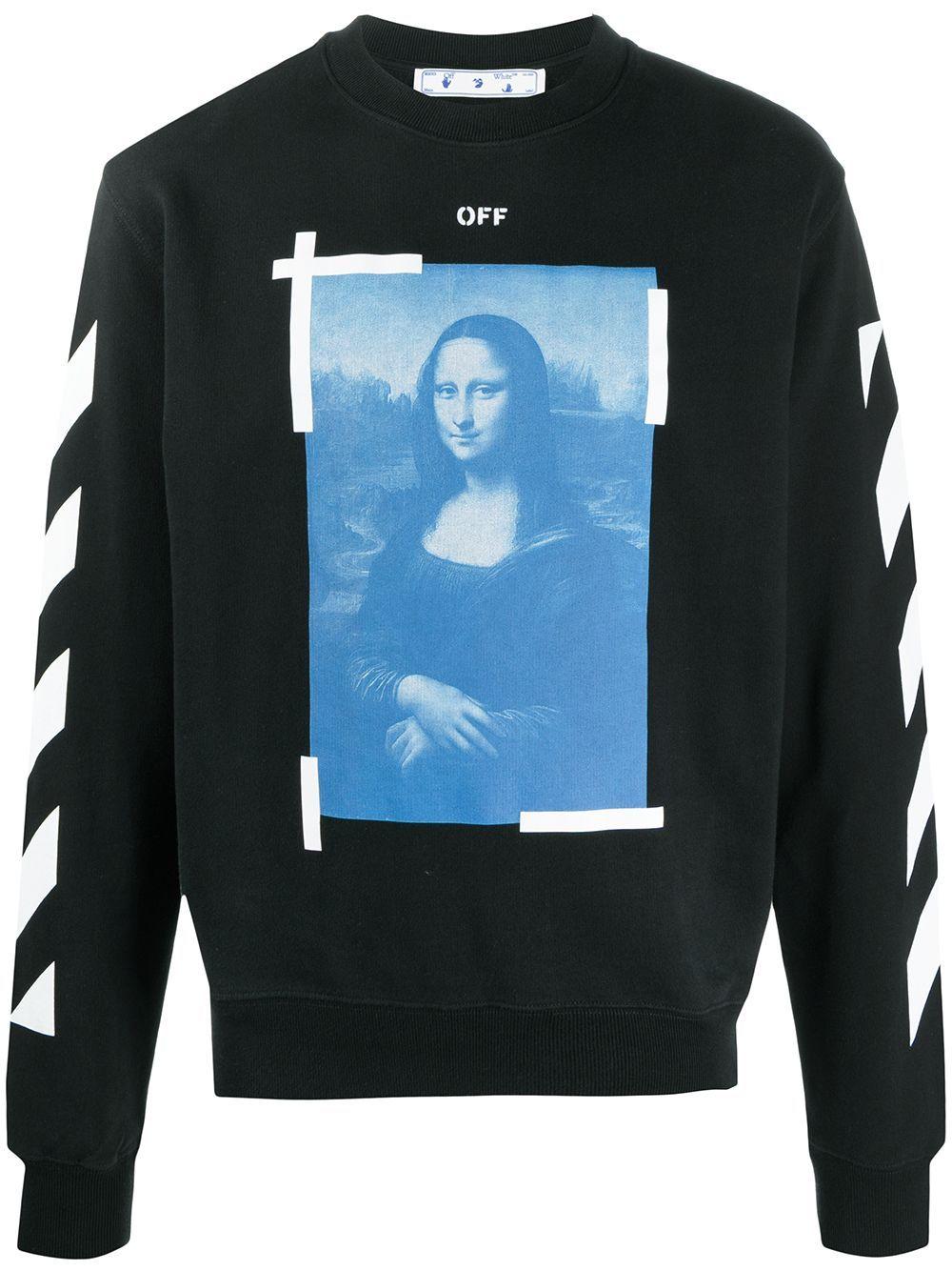 Off White Mona Lisa Print Sweatshirt Farfetch Printed Sweatshirts Graphic Print Sweatshirt Black Cotton Sweatshirt [ 1334 x 1000 Pixel ]