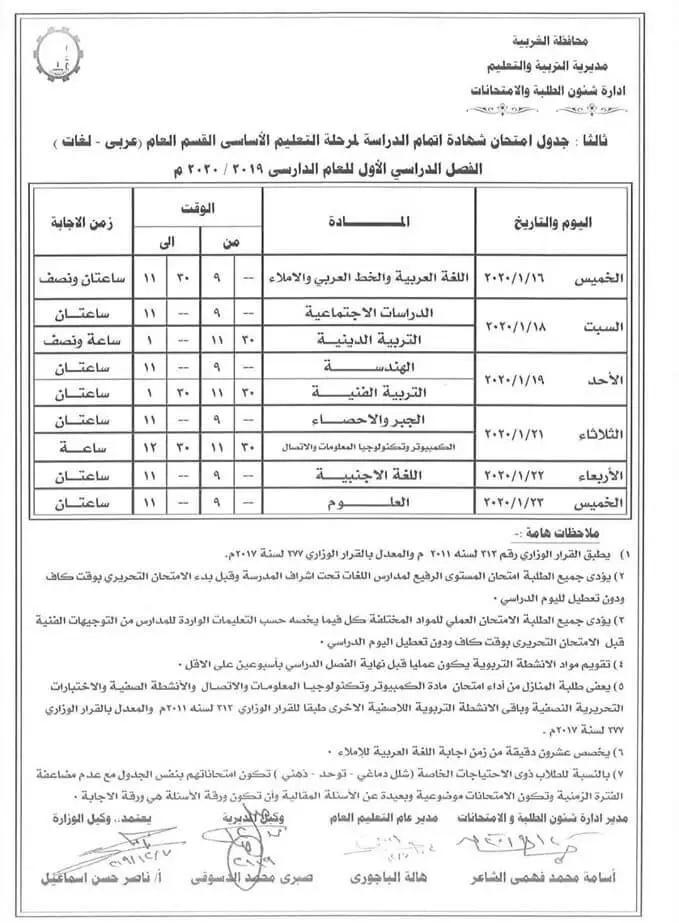 جدول امتحانات الشهادة الاعدادية الترم الأول 2020 جميع محافظات مصر Sheet Music Music