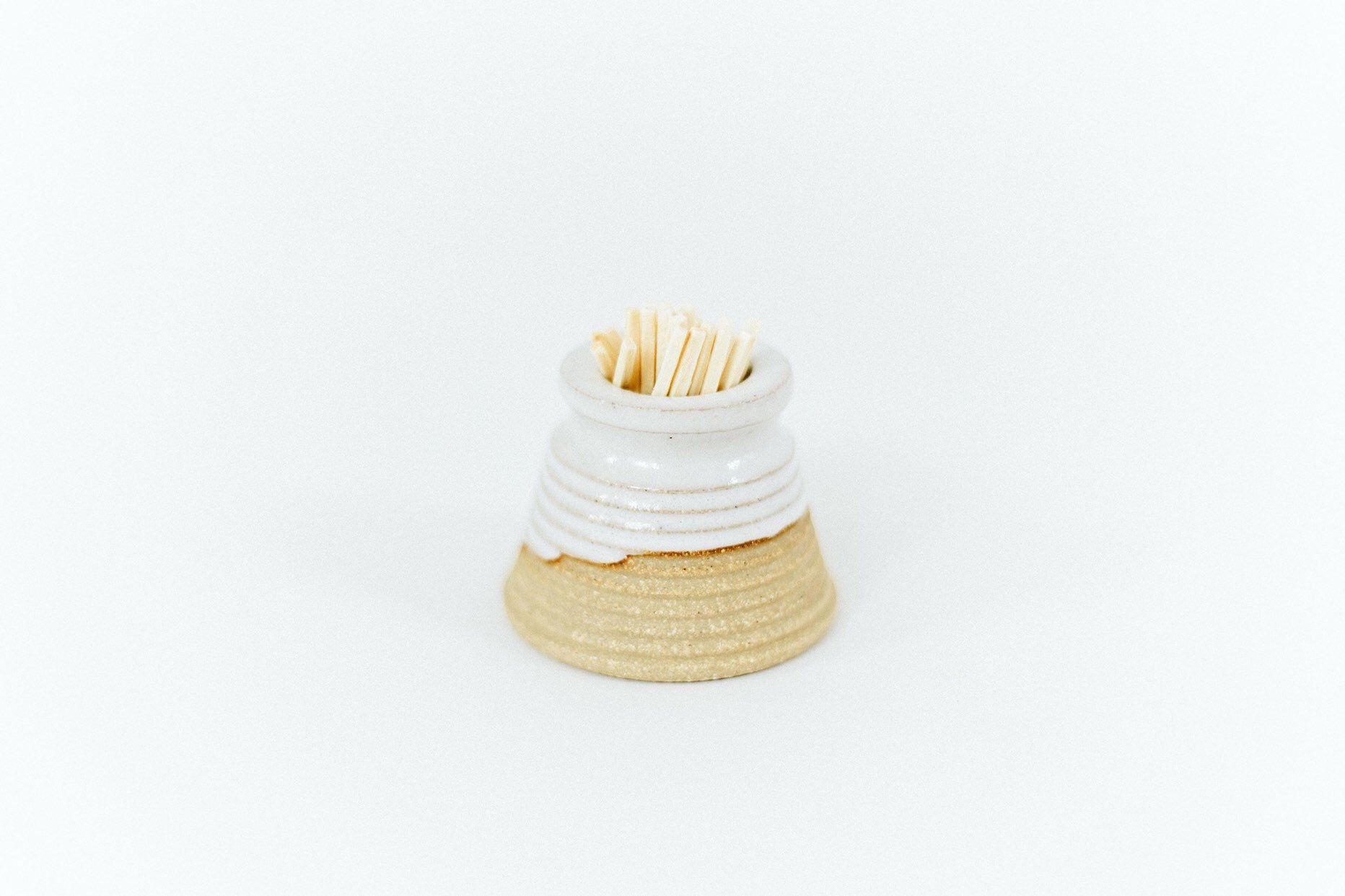 White Match Striker / Handmade Pottery / Match Holder