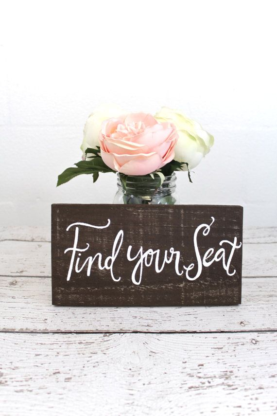 Find Your Seat Wooden Wedding Seating Sign  WD7 by ThePaperWalrus, $14.99