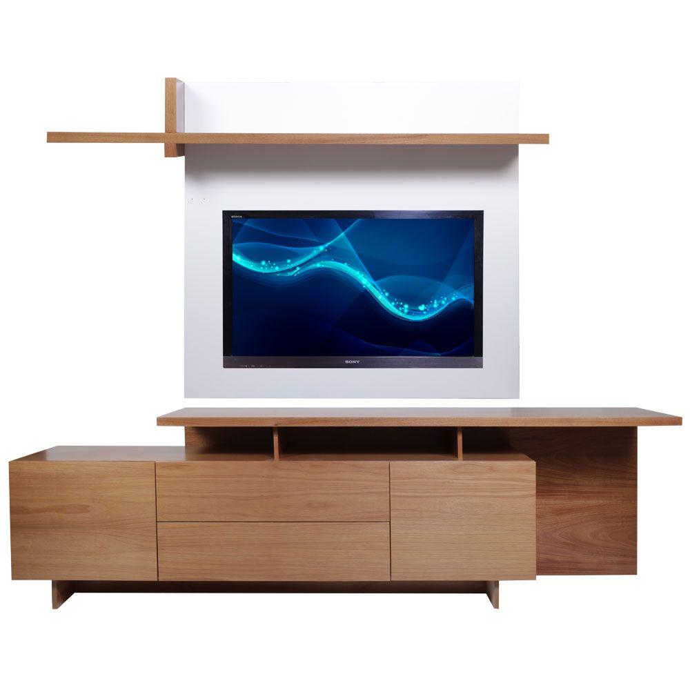 Mueble De Tv Lotus En Cedro Natural Panel Para Tv En Laca Blanca  # Muebles Sencillos Para Tv
