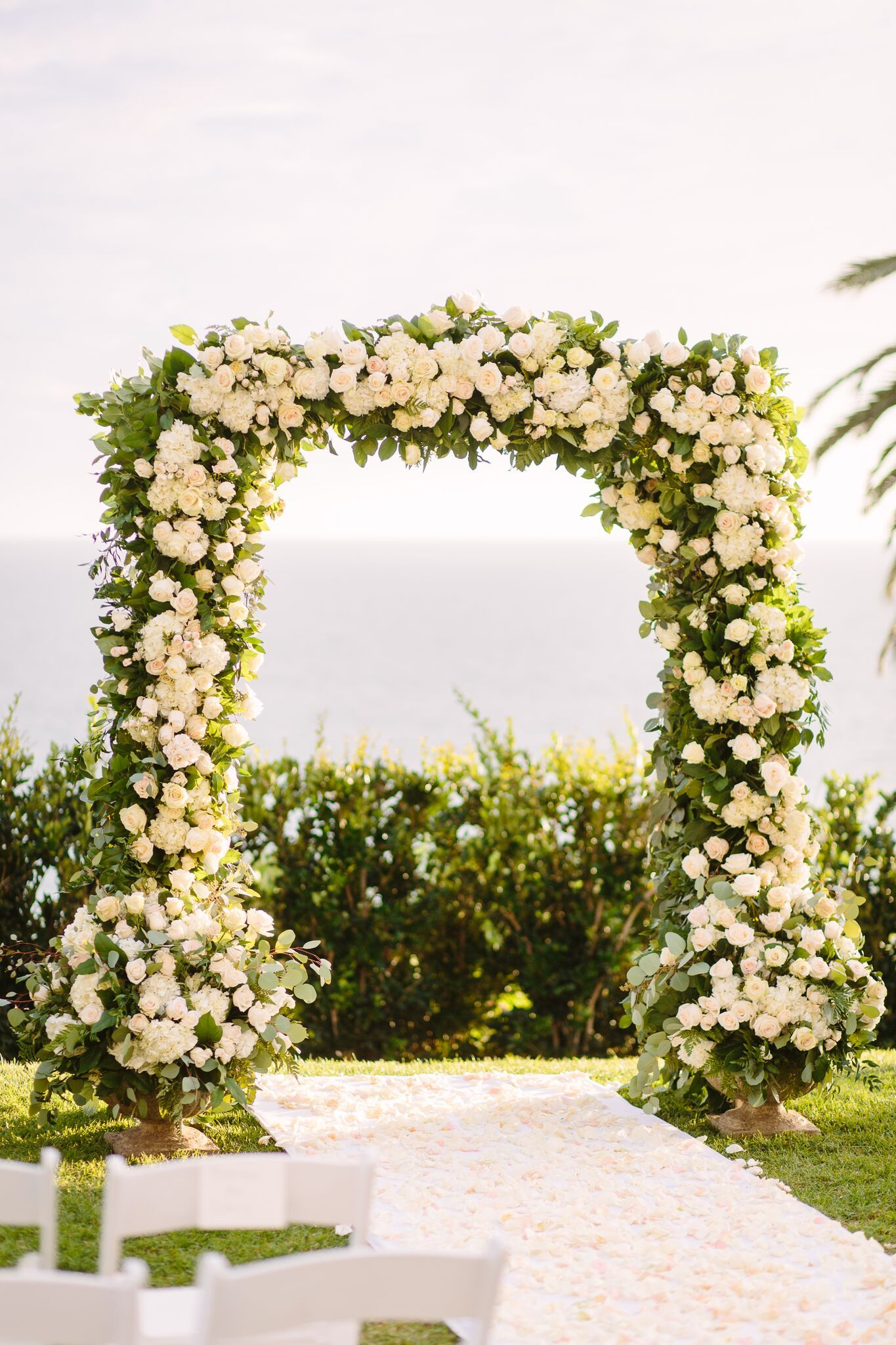 Flower Arch Greenery White Pink Flowers Outdoor Wedding