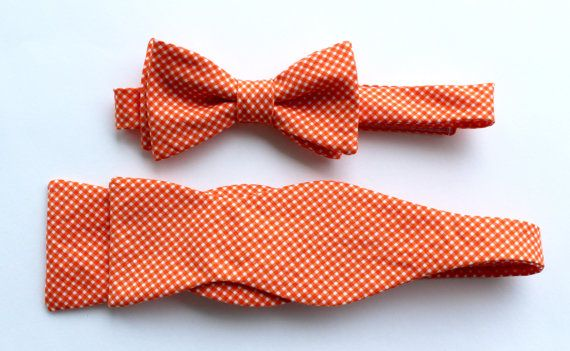 Father/Son Bow Tie Sets  Orange Tiny Gingham by HaddonCo on Etsy, $50.00