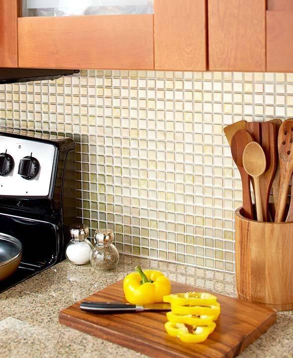 Must Have Farmhouse Kitchen Decor Ideas: Wall Tiles Beige Sets Of 4 Glass-Style Backsplash Tile