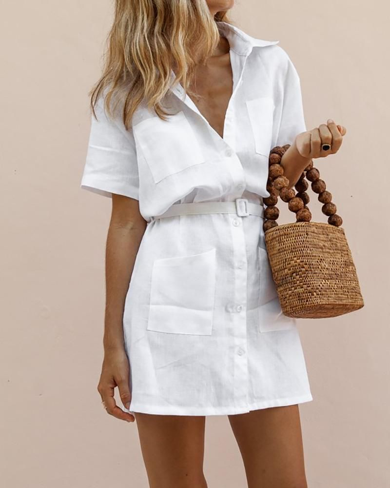 H-Shaped Belt Elegant Shirt Dress -   17 dress Summer elegant ideas