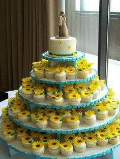 This Is Almost My Wedding Cake I Had The Exact Same Topper And Cupcake Tiers With Daisies On Them Love Sunflowers Too